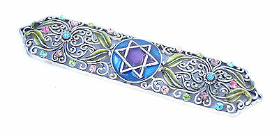 Pewter metal Enameled Jeweled case Mezuzah/Crystal stones Jewish Judaica L-5.75""