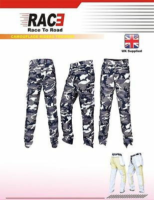 RAC3 Mens Motorbike Motorcycle Protective Armoured Camouflage Cargo Trousers