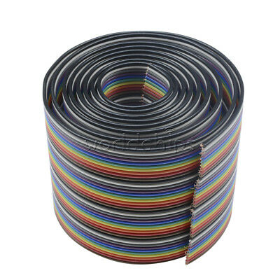 1M 3.3ft 40 Pin 40 Way Flat Color Rainbow Ribbon IDC Cable Wire Rainbow Cable