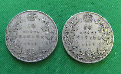 Canada 1918 1919  50 cents silver lots of 2 coins