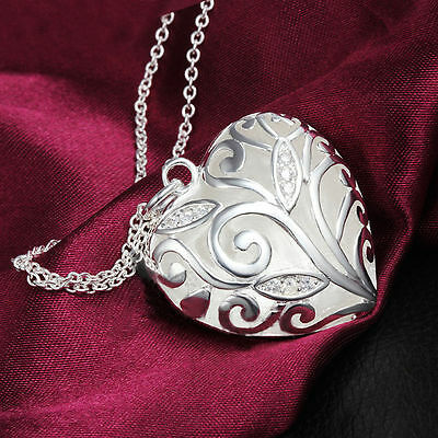 925 Silver Plated Heart Jewelry Sexy Pendant Hot Hollow Chain Charm Necklace r