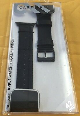 Case Mate Leather Smartwatch Band for Apple Watch Sport & Edition 42mm Black