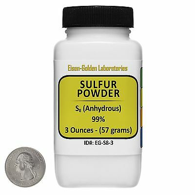 Sulfur Powder [S8] 99% ACS Grade Powder 3 Oz in a Space-Saver Bottle USA