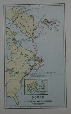 Original Antique Map NORSE EXPLORATIONS & SETTLEMENTS New England Canada Iceland