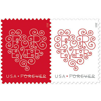 USPS New Forever Hearts Stamp Sheet of 20