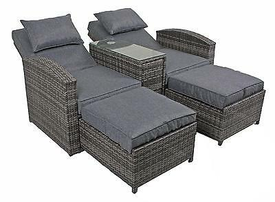 doppelsessel set calgary rattan sessel stuhl sitzgruppe garten m bel grau braun picclick. Black Bedroom Furniture Sets. Home Design Ideas