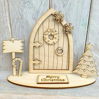 Christmas Elf Fairy Door Stand Wooden Craft Kit Blank Stand P Merry Christmas