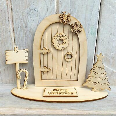 Christmas Elf Fairy Door with Stand Stand C Merry Christmas