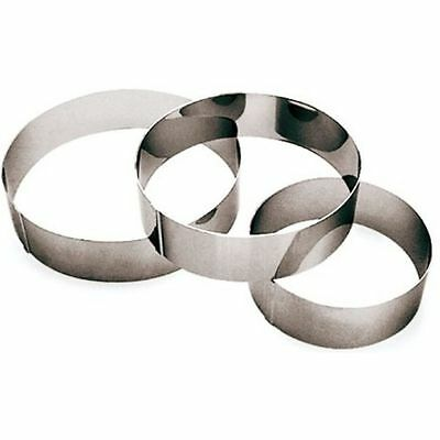Paderno World Cuisine Stainless Steel Ice Cake Pastry Ring, 10.25 x 10.25 x 2.38