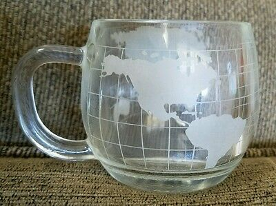 Nestle Co etched Frosted world globe coffee cup mug
