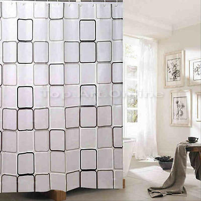 Shower Curtain Fabric Waterproof Bathroom Square Design Polyester 12 Hooks NEW