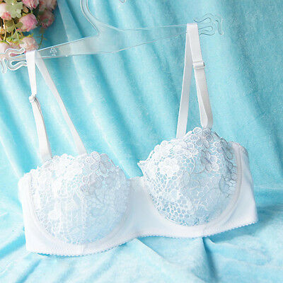 Womens Lace bra Unpadded Embroidered perspective Underwear Brassiere A B C D Cup