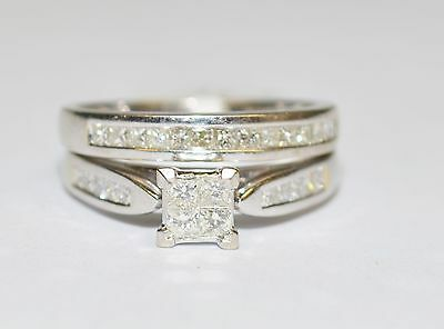 CLEARANCE 18k White Gold 1.5ct Princess Cut Diamond 2x Ring Bridal Set #678982