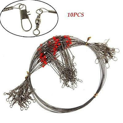 10PC Durable 2 Arm Stainless Steel Fishing Wire Trace Leader With Snap Spinner