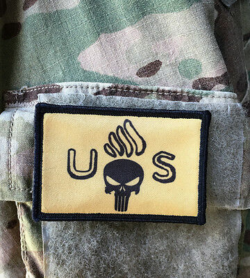 US ARMY Flaming Bomb with Punisher Skull Morale Patch Tactical Military USA Hook