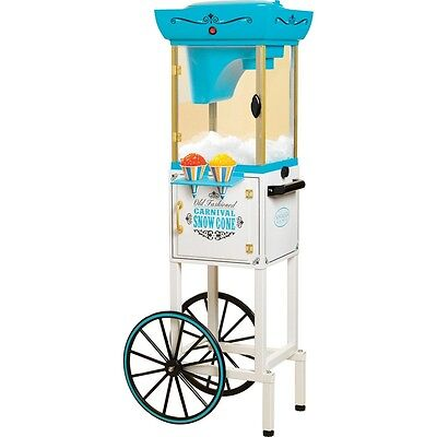 Shaved Ice Snow Cone Maker w/ Matching Storage Cart Stand, Vintage Style Machine