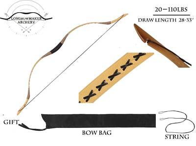 20-110lb Handmade Traditional Archery Hunting Yellow Cow Leather Longbow Recurve
