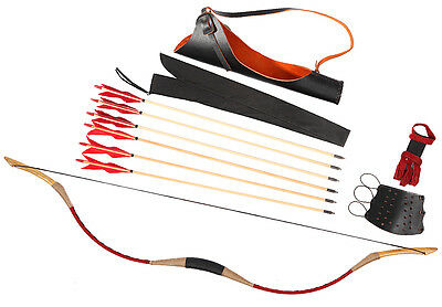 20-110lb Archery Bow Set Red Leather Longbow Recurve Bow + 6 Wood Arrow + Quiver