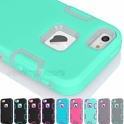 Hybrid Rugged Rubber Hard Armor Shockproof Case Cover for Apple iPhone SE 5S 5