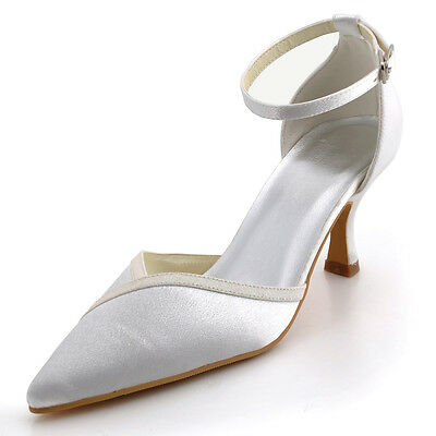 A1006 Ivory Party Pumps Mid Heel Satin Pointy Toe Buckles Wedding Bridal Shoes