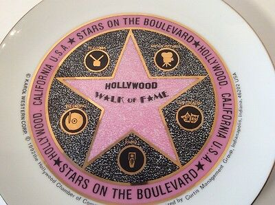 """Vtg 1992 Hollywood Walk of Fame Pink Black Gold Collectible Plate EUC 8"""" Decor."""