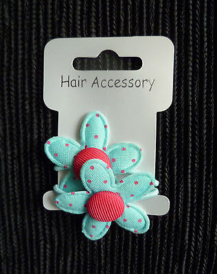 Hair accessories kids GIRL 3 year+2 spotted blue/pink daisy small blue hairbands
