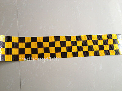 "Yellow&Black Square Reflective Warning Self Adhesive Tape Sticker 10cm 4"" Width"
