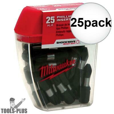 25pk #2 Phillips Shockwave Impact Insert Bits Milwaukee 48-32-4604 New