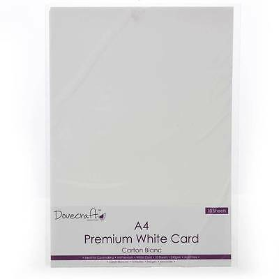 Dovecraft Premium white acid free A4 card Pack of 10 for jewellery making crafts