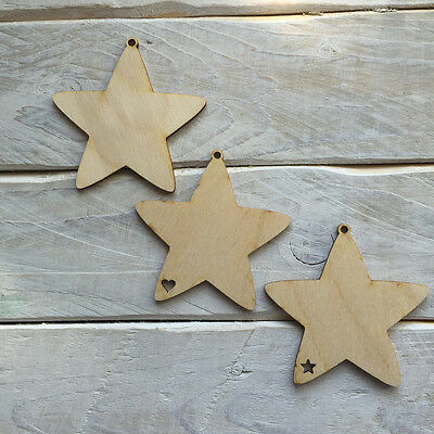 10 Pack Plywood Wooden Christmas Tree Decorations DIY Blank STAR SHAPES