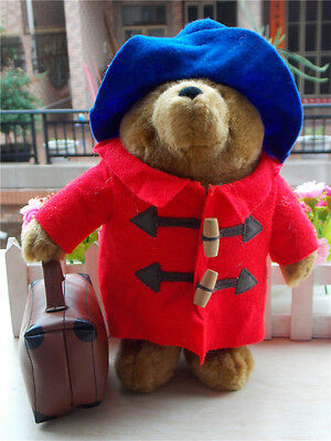 "New Paddington Bear Red Coat Blue Hat With Suitcase Augusta 11"" Plush Doll Toy"