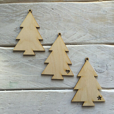 10 pack plywood wooden christmas tree decorations diy blank tree shapes 02