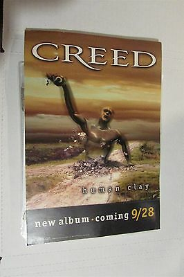 """CREED Human Clay 9x13"""" Promo CD Store Counter Display Card With Stand 1999"""