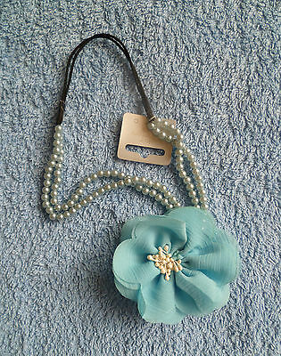 Hair accessories kids GIRL 3 years+ turquoise beaded flower stretch headband