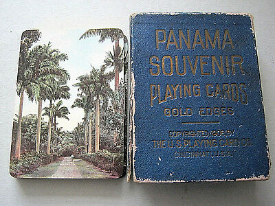 Playing Cards Antique Uspcc Gilded 1908 Panama Souvenir Complete 52+1J+1Map+1