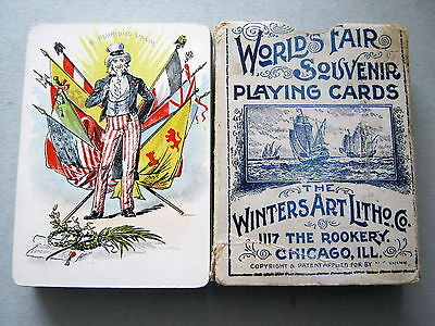 Playing Cards Antique Winters Art Litho Co Chicago Columbia Exposition 1893 52+1