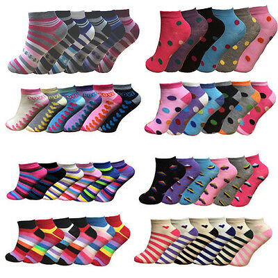 12 Pairs Womens Girls  Active Designer Ankle Trainer Sports Socks Size 4-7