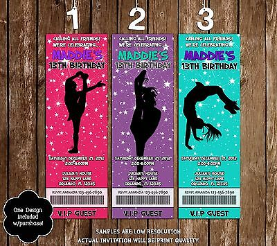 Cheerleader Tumble - BirthdayTicket Invitation - 20 Printed W/envelopes