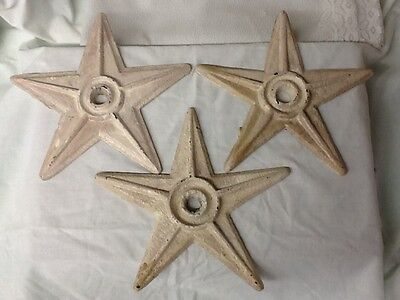 Lot 3 Vintage Masonry Cast Iron Stars Architectural  Antique Rust Patina