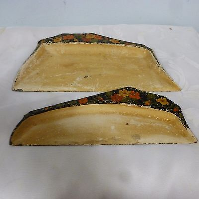 Antique Vintage Metal Crumb Tray Catcher Scoop Sweeper Pan Set Pair Deco Flowers