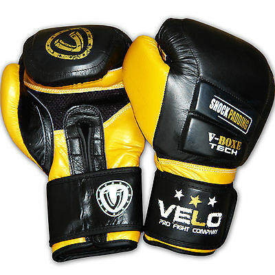 VELO Gel Shock Leather Boxing Gloves Fight Punch Bag MMA Muay thai Grappling Pad