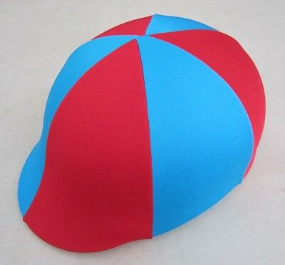 Horse Helmet Cover ALL AUSTRALIAN MADE Red & Sky Blue Any size you need