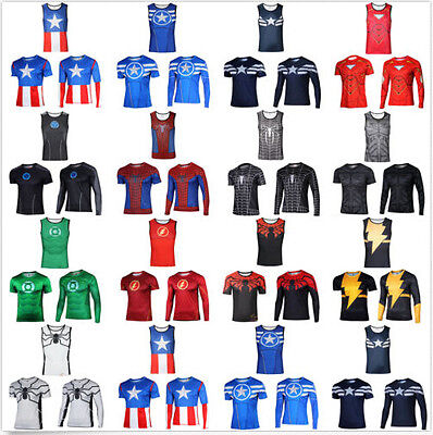 Men Marvel Superhero Avengers Costume Cycling Top Tee T-Shirt Jersey Shirts Y35