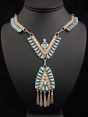Tiers of Turquoise Teardrops NECKLACE old Navajo silver Native American VINTAGE