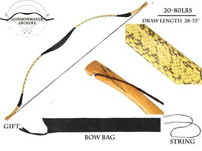 Real snakeskin Longbow recurve 20lb-80lb for outdoor archery shooting/hunting