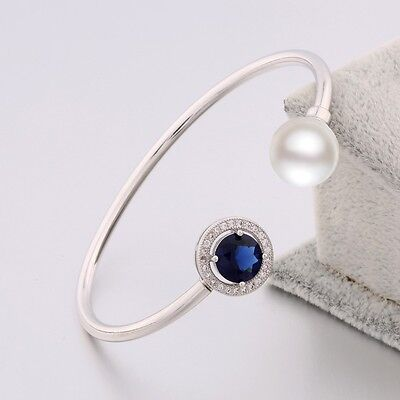 Hot Women Cuff Bangle Sapphire & Pearl Bracelet 18K White Gold Filled Jewelry