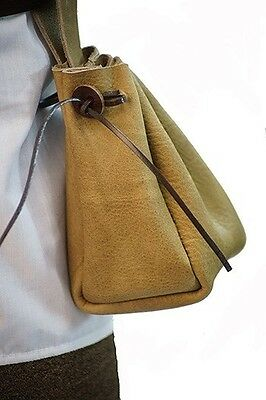 Medieval-Larp-SCA-Re Enactor-Archer-MERCHANT LIGHT BROWN SOFT LEATHER Belt Bag
