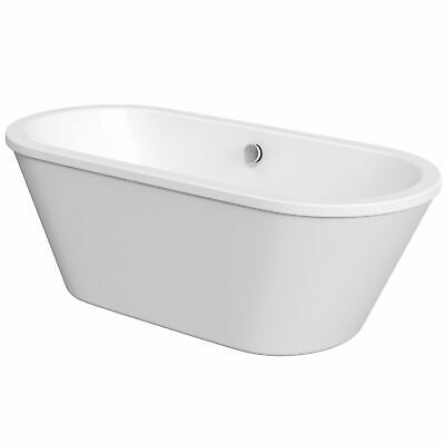 Double Ended Freestanding Skirt Bath 1700 × 775mm White Black Brushed Steel