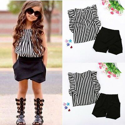 2PCS Toddler Kids Baby Girls T-shirt Tops + Shorts Pants Clothes Outfits Set