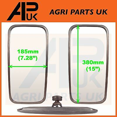 2 x Mirror Head + Glass Tractor Massey Ferguson John Deere Ford New Holland Case
